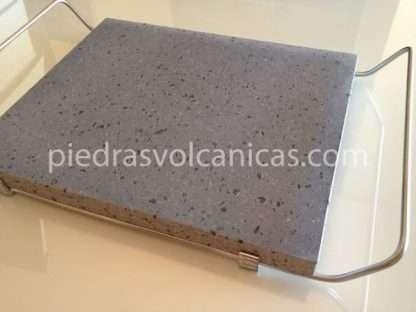 piedras volcanicas para asar IMG 6146 416x312 - Piedra Volcánica Natural para asar 30x25 2cm con soporte
