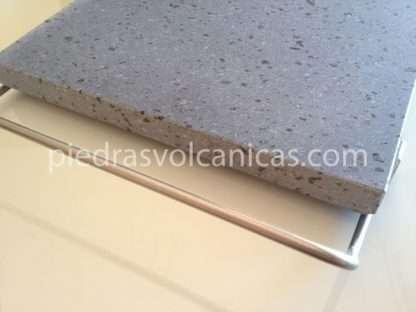 piedras volcanicas para asar IMG 6148 416x312 - Piedra Volcánica Natural para asar 30x25 2cm con soporte