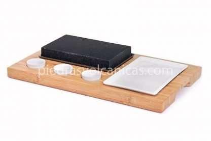 piedra carne a la piedra volcanica R1A138 1 416x277 - Piedra asar volcánica 20x12x3 base bambú, salseros y plato
