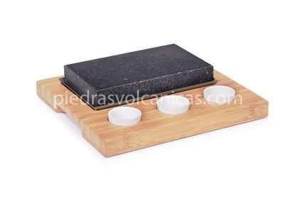piedra carne a la piedra volcanica R1A139 1 416x277 - Piedra asar volcánica 20x12x3 base bambú, salseros