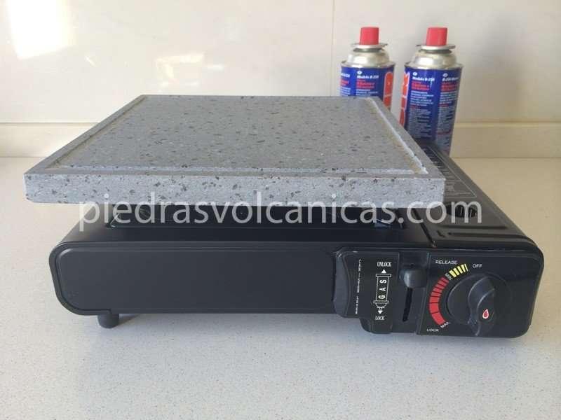 Piedra asar volc nica 26x26 2cm cocina de gas port til for Cocina de gas portatil