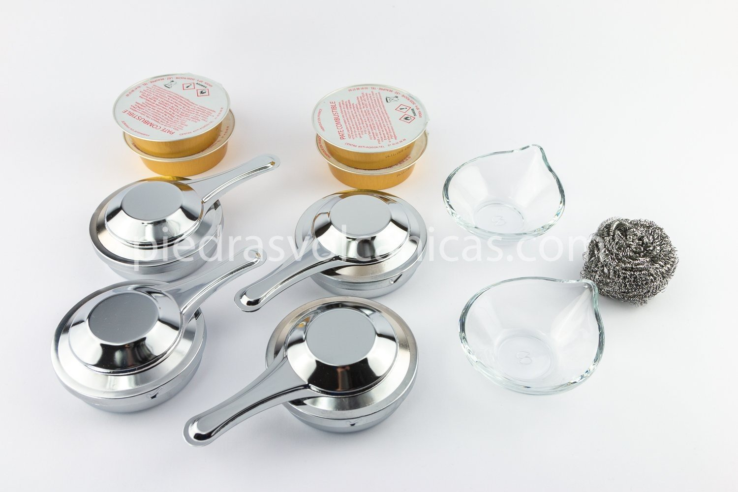 quemadores alcohol gel R1A163 - Piedra asar Volcánica 30×25 2cm + bandeja y soporte inox + 4 quemadores alcohol abiertos + 4 tarrinas de gel + estropajo + 2 salseros